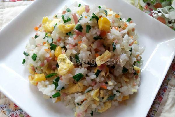 韮菜火腿蛋炒饭的做法