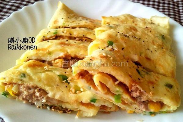 玉米鲔鱼蛋饼的做法
