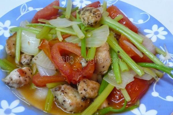 芹菜炒鸡肉的做法