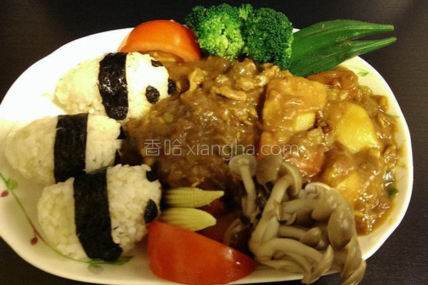可爱熊猫咖哩的做法