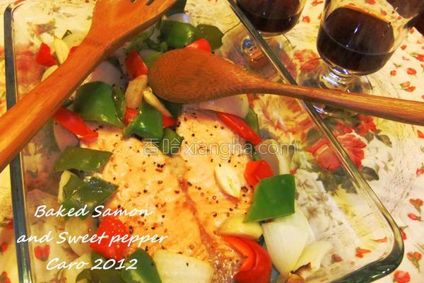 焗烤鲑鱼蔬菜的做法