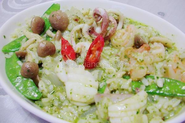 青酱海鲜炖饭的做法