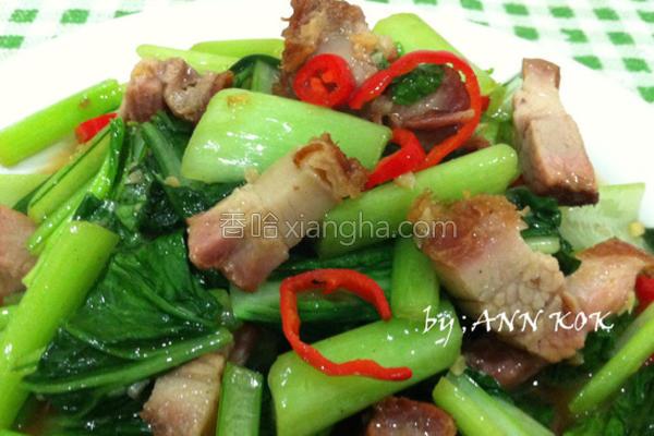 烧肉炒青菜的做法
