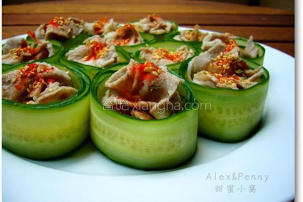 小黄瓜卷肉片的做法