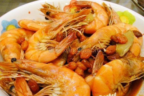 姜片枸杞麻油虾的做法