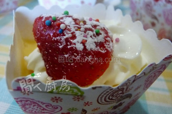 雪慕草莓布甸的做法