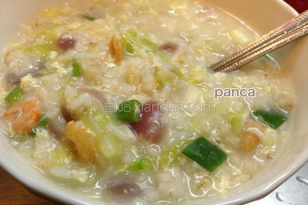 虾米洋葱菜蛋粥的做法