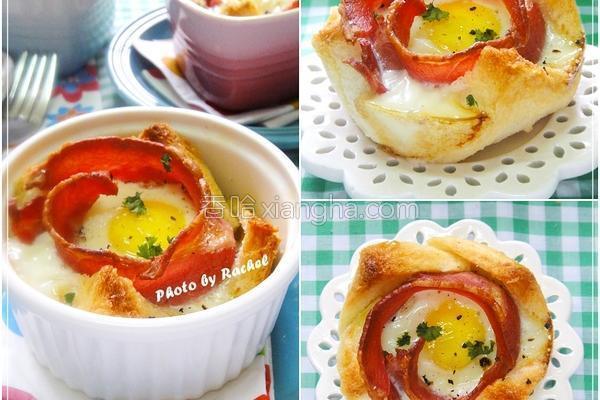 培根鸡蛋花吐司的做法