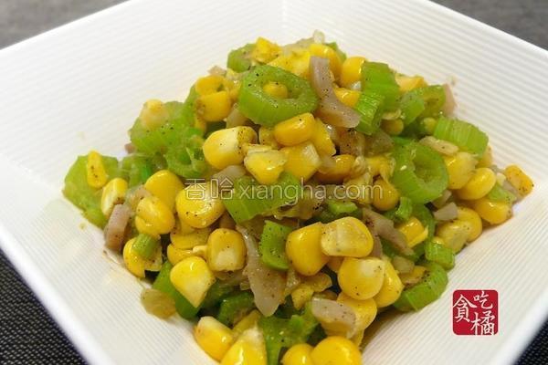 榨菜香芹玉米的做法
