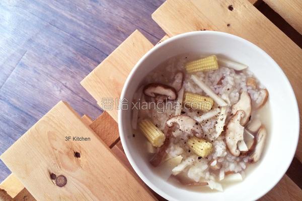 鲜菇竹笋粥的做法