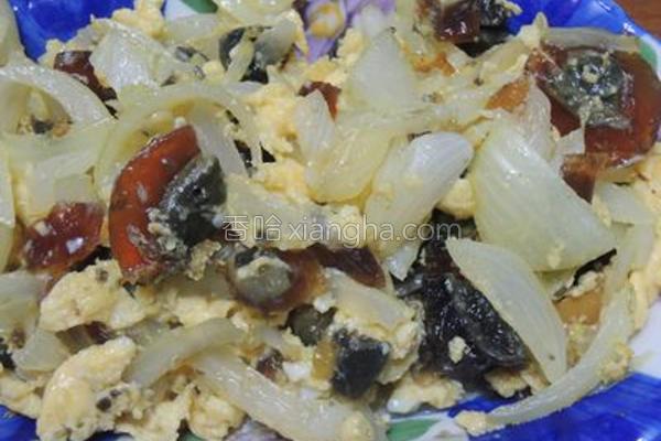 洋葱拌炒双色蛋的做法