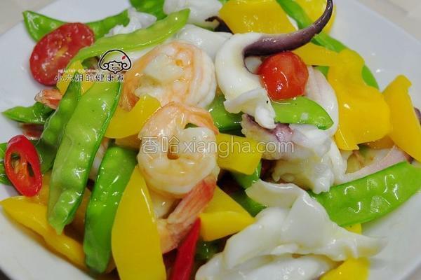 彩蔬烩海鲜的做法