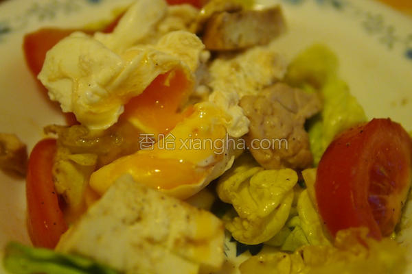 蒸鸡蛋鸡肉沙拉的做法