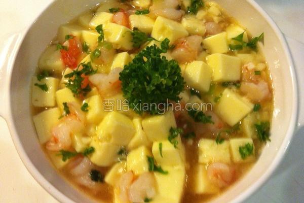 虾仁蒸蛋豆腐煲的做法