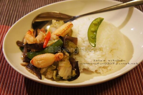 蟹肉白菜盖饭的做法