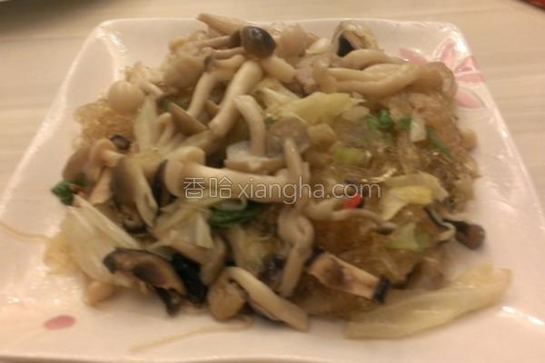高丽菜菇菇炒冬粉的做法
