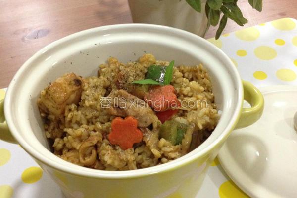 绿咖哩鸡肉炖饭的做法