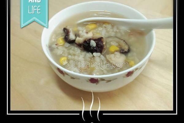 香菇玉米鸡肉粥的做法