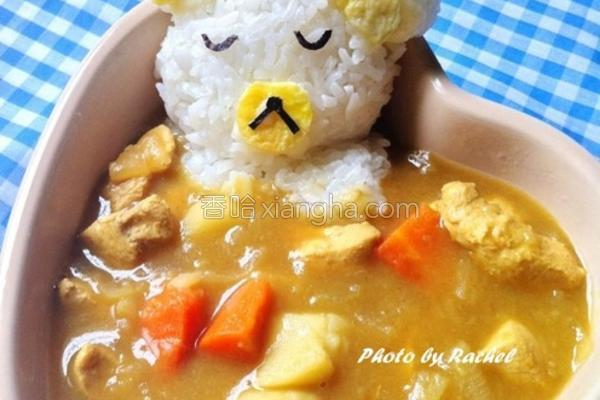 淡定熊泡汤咖哩饭的做法