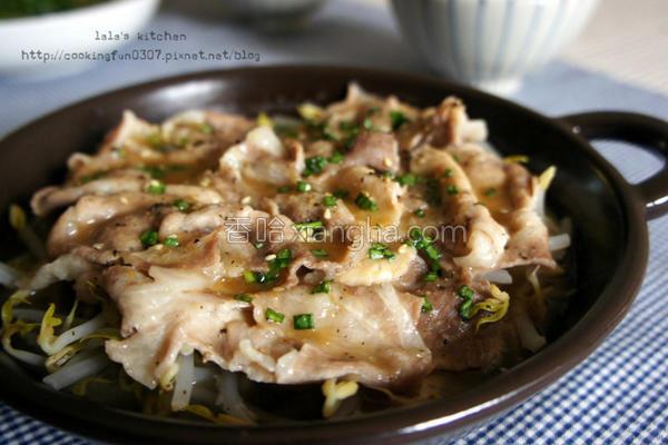 味噌银芽猪肉蒸的做法