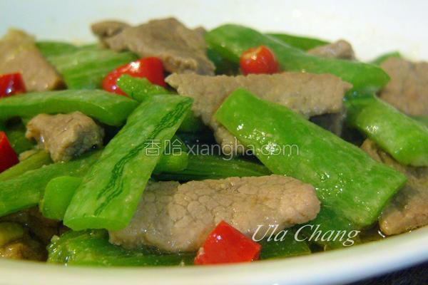 辣炒蒜味肉片蛇瓜的做法
