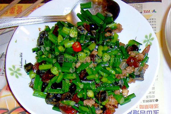 韭菜花炒皮蛋肉末的做法