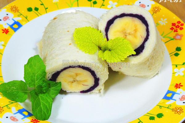 紫地瓜香蕉吐司卷的做法