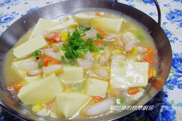蟹腿豆腐煲的做法