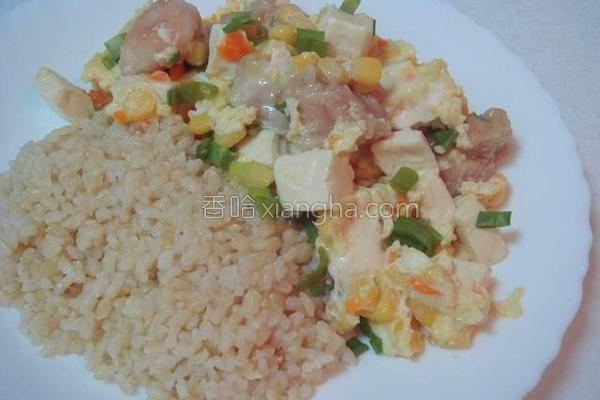 鸡腿玉米蛋烩饭的做法