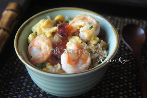 虾仁腊肠蛋炒饭的做法