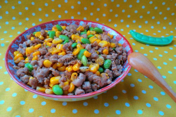 玉米毛豆炒肉末的做法