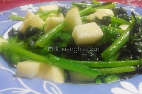 菠菜炒苹果的做法