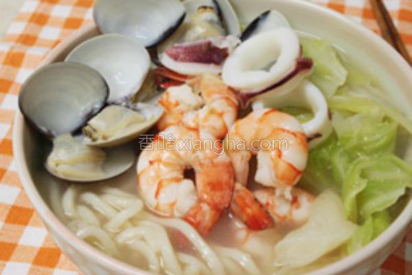 海鲜虾面的做法