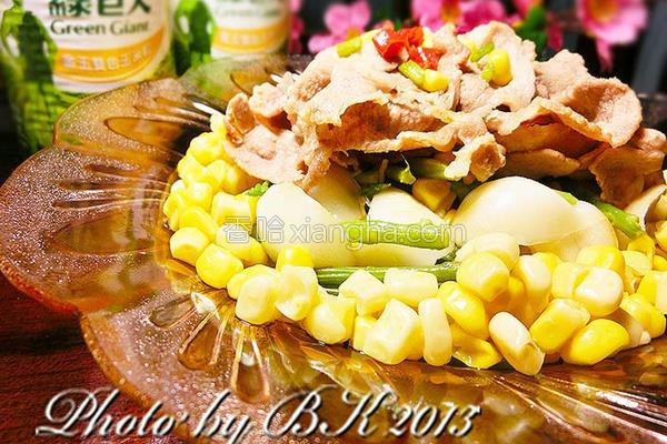 鲜蔬玉米炒猪肉的做法