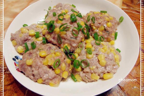 玉米蒸肉饼的做法