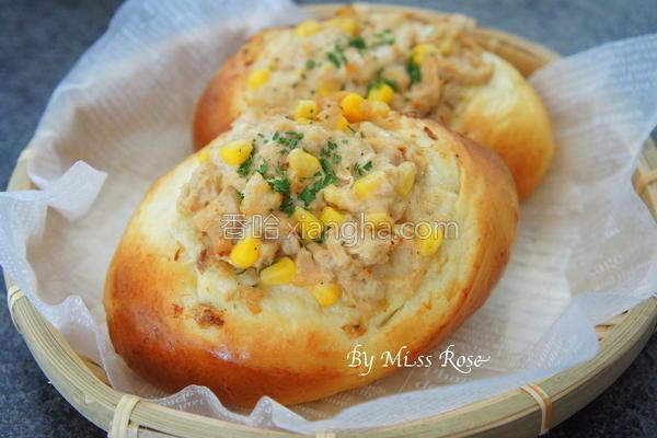 鲔鱼玉米面包的做法