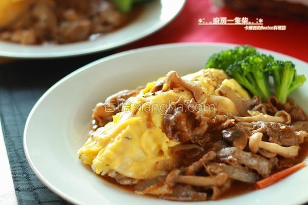 日式牛肉烩蛋包饭的做法