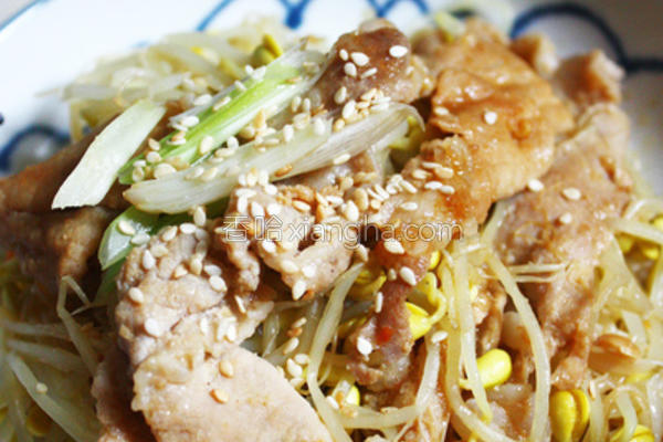 味噌猪肉炒黄豆芽的做法