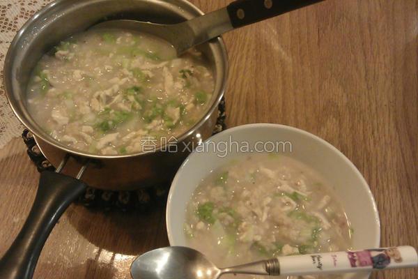 小白菜鸡肉粥的做法