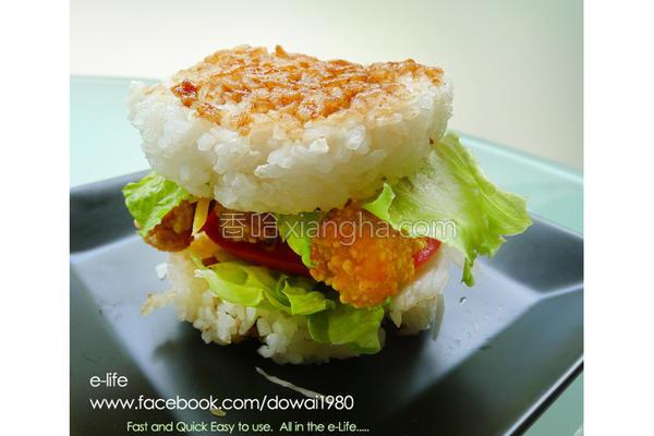 鱼柳青蔬米汉堡的做法