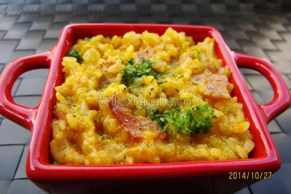 南瓜培根炖饭的做法