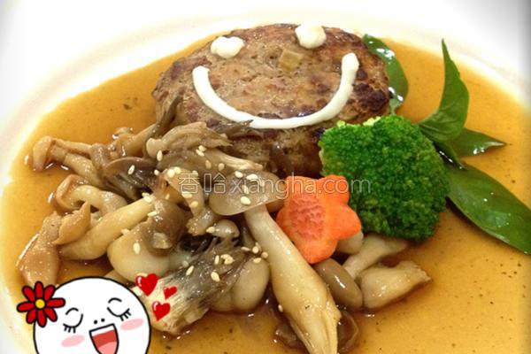 综合菇炖汉堡排的做法