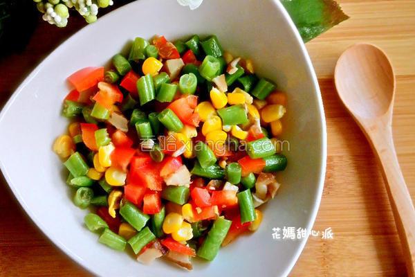 茄汁三色四季豆的做法