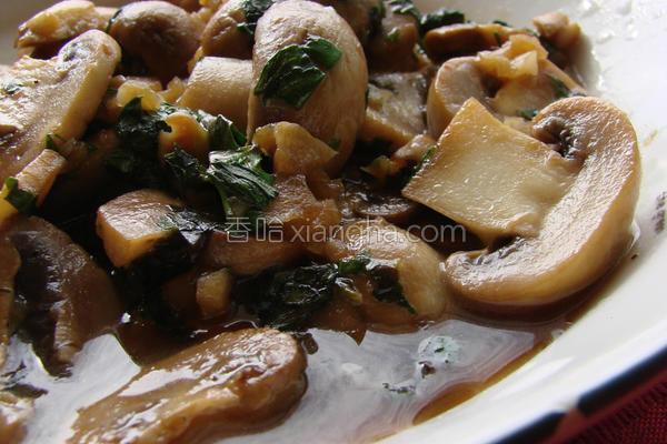 罗勒香蒜炒双菇的做法