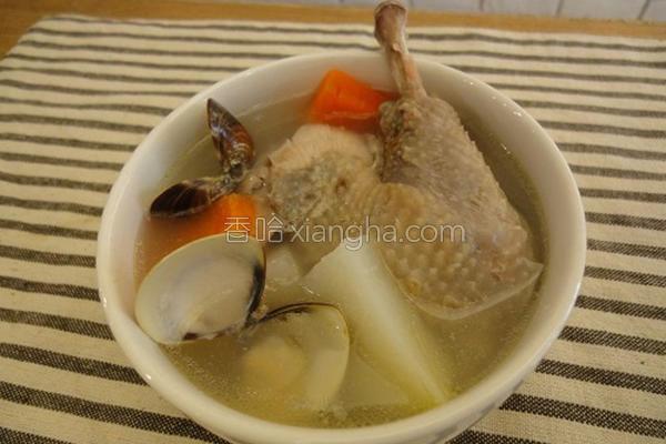 蛤蜊结头菜鸡汤的做法
