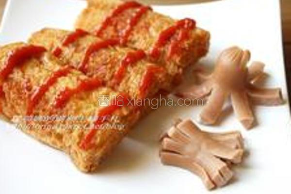 红香肠酥炸吐司的做法