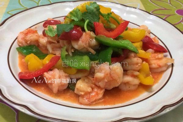 彩椒烩虾仁的做法