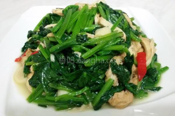 菠菜炒豆皮的做法