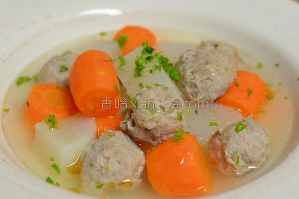 双萝芹菜丸汤的做法