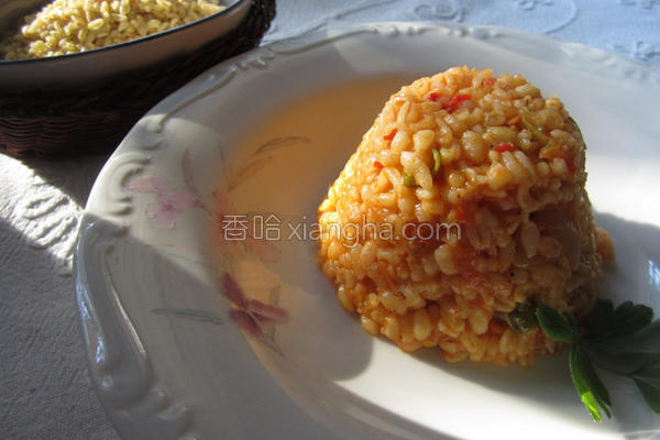 土式炖茄汁麦粒饭的做法